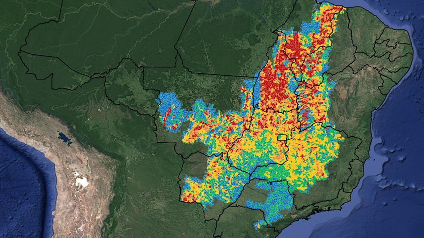 One of 11 geo-rating maps for Brazil Cerrado: deforestation in 2016/2017(PRODES), Agrotools methodology