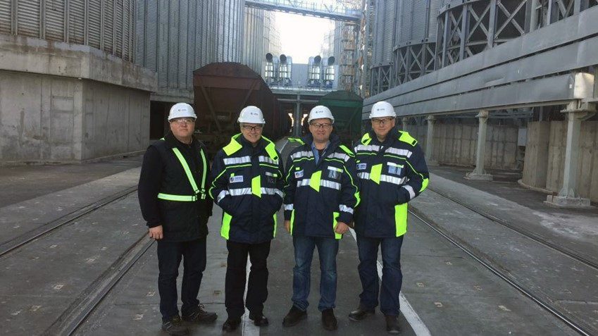 Dmitriy and colleagues at COFCO's Nikolaev port terminal in Ukraine. Dmitriy's job is to help create a safe and healthy workplace for more than 10,000 employees, on-site contractors and service providers at more than 80 locations around the world.